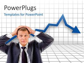 PowerPoint template displaying financial crisis graph with business man putting hands on head in regret