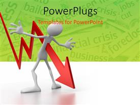 PowerPlugs: PowerPoint template with financial crisis with red arrow piercing 3D man in chest