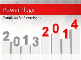 PowerPlugs: PowerPoint template with financial depiction with bar charts for two years over world map