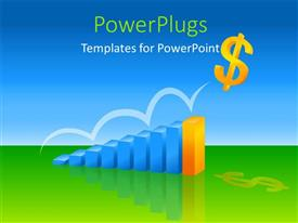 PowerPoint template displaying financial depiction with colored chart with yellow dollar sign