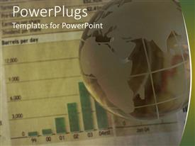 PowerPoint template displaying financial depiction with earth globe over bar charts