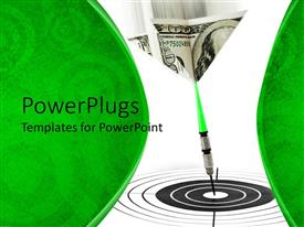PowerPlugs: PowerPoint template with financial goals metaphor with hundred dollar bill dart hitting bulls eye on target, green border