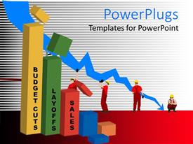 PowerPlugs: PowerPoint template with financial graphic chart with falling arrow 3D colored graph bars budget cuts layoffs sales and builder workers trying to get the fallen arrow up