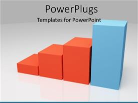 PowerPoint template displaying a financial growth chart with grey background