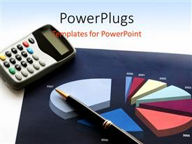 PowerPlugs: PowerPoint template with financial pie chart depicting business sales with calculator