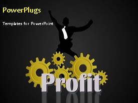 PowerPoint template displaying financial profit depiction with businessman and rotating cogwheels