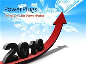 PowerPlugs: PowerPoint template with financial profits in 2010 with red colored arrow and dollar notes