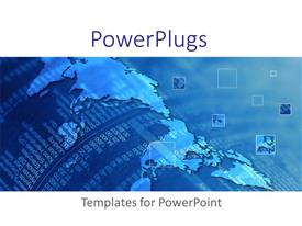 PowerPlugs: PowerPoint template with financial report embedded in blue world map with magnifying squares