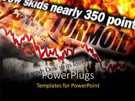 PowerPlugs: PowerPoint template with financial turmoil with red decreasing chart on financial document