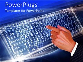 PowerPoint template displaying finger touching keyboard, Internet, World wide web, IT