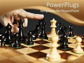PowerPoint template displaying finger turns over chess King in defeat