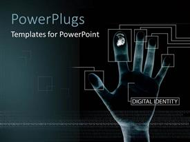 PowerPlugs: PowerPoint template with fingerprint scanning technology for digital identity on internet on black background