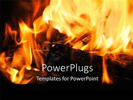 PowerPoint template displaying a fire being burnt with blackish background and place for text