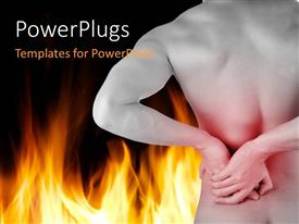 PowerPlugs: PowerPoint template with fire on black surface with back view of man holding waist
