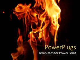 PowerPlugs: PowerPoint template with the fire burning with a dark background and a place for text