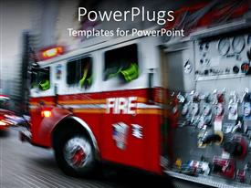 PowerPoint template displaying fire department on the moves with all necessary tools