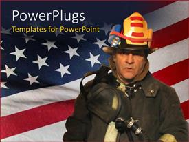 PowerPoint template displaying a fire fighter with American flag in the background