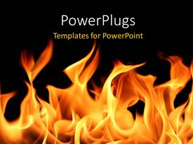 PowerPoint template displaying fire and flames with black color