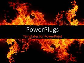 PowerPoint template displaying fire flames over dark background