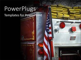 PowerPoint template displaying fire truck with American flag and ropes over black background