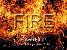 PowerPlugs: PowerPoint template with fire word in flames, digital representation of fire and flames