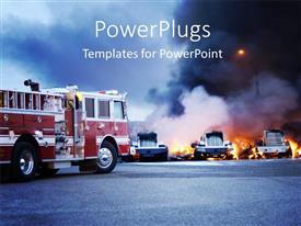 PowerPoint template displaying firemen fight a fire that has involved industrial trucks with fog