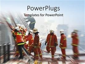 PowerPlugs: PowerPoint template with firemen at work with buildings