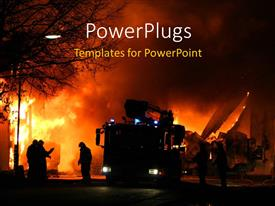 PowerPoint template displaying firemen at work during a major fire