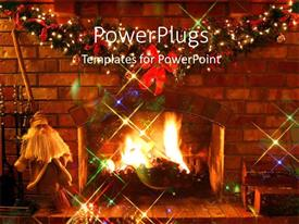 PowerPoint template displaying fireplace decoration at Christmas with red ribbons and brick wall