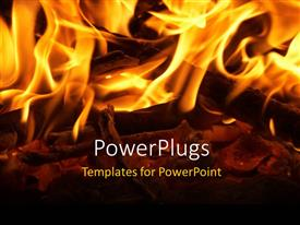 PowerPlugs: PowerPoint template with fireplace with wooden log and glowing fire