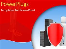 PowerPlugs: PowerPoint template with a white colored 3D character holding a shield and sword