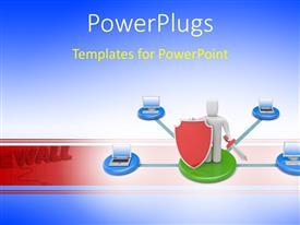 PowerPlugs: PowerPoint template with firewall protection depiction with 3D man holding red shield and sword