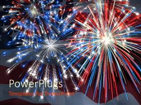 PowerPlugs: PowerPoint template with a firework display being impressed by the american flag along with the flag in the background