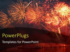 PowerPlugs: PowerPoint template with lots of sparkling bright fireworks on an evening sky