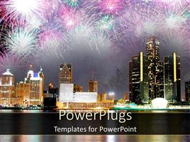 PowerPlugs: PowerPoint template with fireworks display in modern city showing night sky