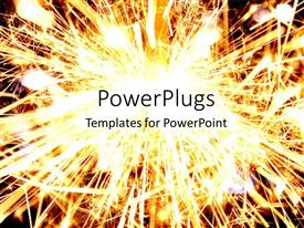 PowerPlugs: PowerPoint template with fireworks, sparklers, sparks, explosion, gold light