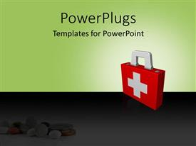 PowerPlugs: PowerPoint template with first aid box depicting health and safety concept with medicines