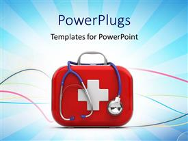 PowerPlugs: PowerPoint template with first aid box and stethoscope with medical symbol on blue background