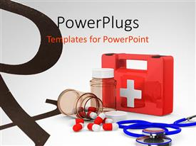 PowerPlugs: PowerPoint template with a first aid kit placed along with medicines and stethoscope