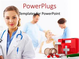 PowerPlugs: PowerPoint template with a doctor with a family in the background