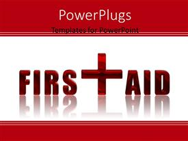 PowerPlugs: PowerPoint template with first Aid reflected 3D text over white background