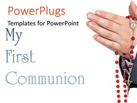 PowerPlugs: PowerPoint template with a person prayig with a white background