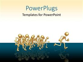 PowerPlugs: PowerPoint template with first place ahead of gold runners race on blue and white background