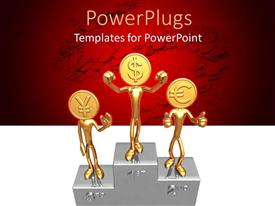 PowerPoint template displaying first, second, third positions champions stand with figures with golden coin heads