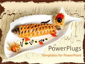 PowerPlugs: PowerPoint template with fish fired with bread and red caviar with brown color