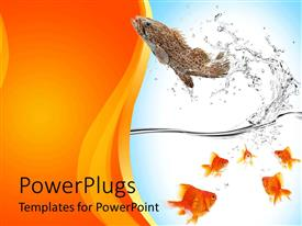 PowerPlugs: PowerPoint template with fish jumping out of water to escape from five goldfish in water