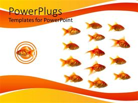 PowerPoint template displaying fish swimming in opposite direction of group of fishes