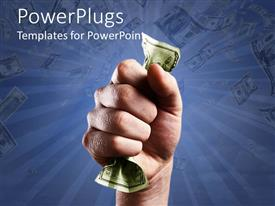 PowerPoint template displaying fist clenched around twenty dollar bill