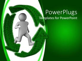 PowerPlugs: PowerPoint template with a fiure with a recycle sign and greenish background