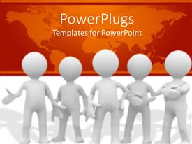 PowerPlugs: PowerPoint template with five 3D human characters standing together with a map background
